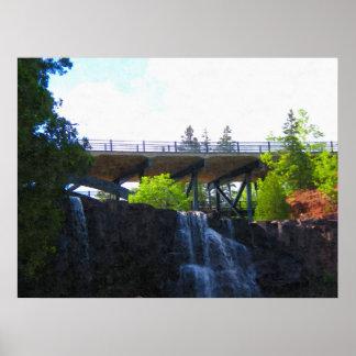 Puente sobre la impresión de la Caída-Pintura de l Póster