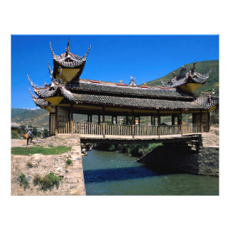 Puente, Songpan, provincia de Sichuan, China Tarjetones