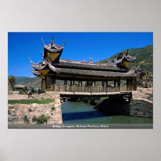 Puente, Songpan, provincia de Sichuan, China Poster