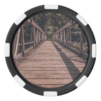 Puente suspendido viejo juego de fichas de póquer