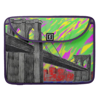 Puente trippy colorido de Nueva York Funda Para Macbooks