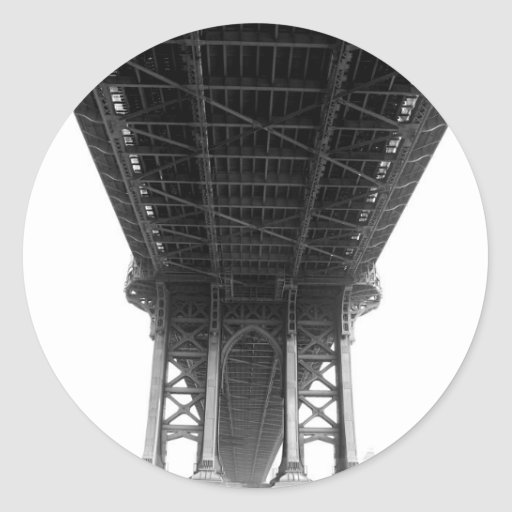 Puente Underview de Manhattan Etiquetas Redondas