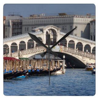 Puente Venecia Italia de Rialto Reloj Cuadrado