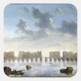 Puente viejo de Londres (aceite), c.1630 Pegatina Cuadrada
