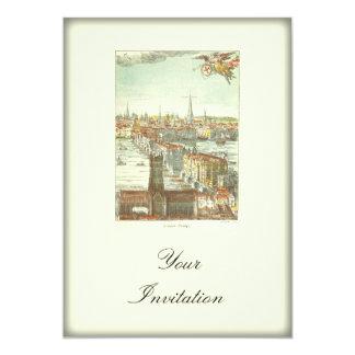 """Puente viejo de Londres, Inglaterra Invitación 5"""" X 7"""""""
