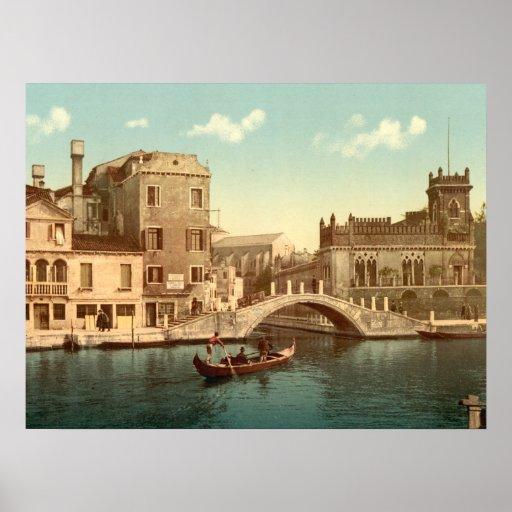 Puente y canal, impresión archival de la calidad d poster