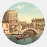 Puente y canal, Venecia Etiquetas Redondas