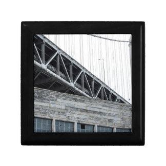 Puente y edificio de la bahía en el embarcadero 26 cajas de joyas
