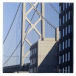Puente y edificios, San Francisco de la bahía Azulejo Cuadrado Grande