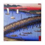 Puente y el gran Riverbank (両国橋大川ばた) de Ryōgoku Azulejos Ceramicos