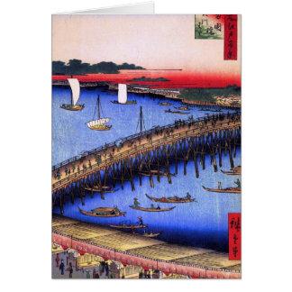 Puente y el gran Riverbank (両国橋大川ばた) de Ryōgoku Tarjeta De Felicitación