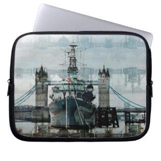 Puente y HMS Belfast, Londres, Inglaterra de la Funda Computadora