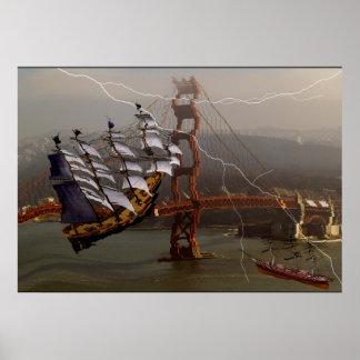Puente y naves de San Francisco que caen abajo Póster