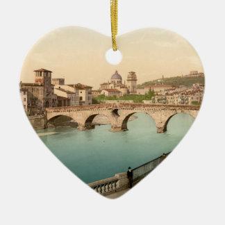 Puente y San de piedra Jorge Verona Italia Ornamento Para Arbol De Navidad