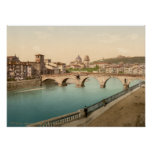 Puente y San de piedra Jorge, Verona, Italia Poster