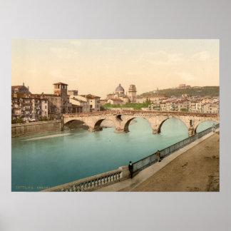 Puente y San de piedra Jorge Verona Italia Poster