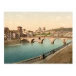 Puente y San de piedra Jorge, Verona, Italia Tarjetas Postales