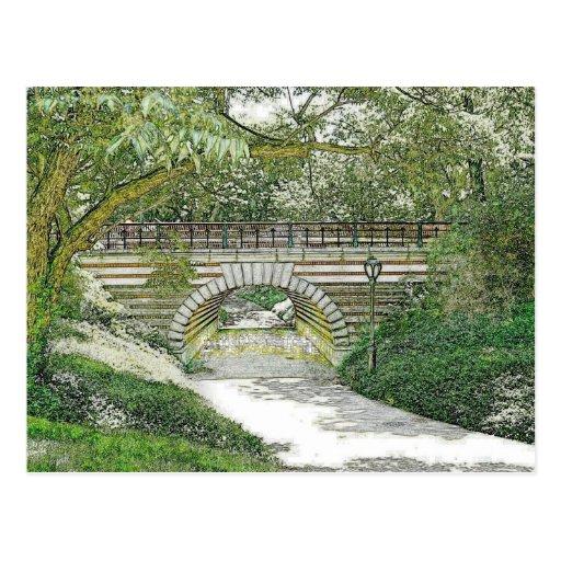 Puente y trayectoria del Central Park Tarjetas Postales