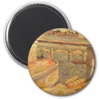 Puentes a través del Sena de Vincent van Gogh Imán Redondo 5 Cm
