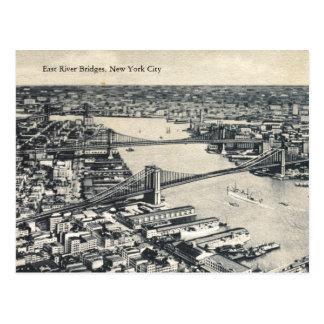 Puentes de East River, vintage de New York City Postales