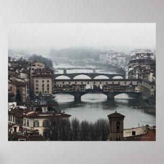 Puentes de Florencia en lona Poster