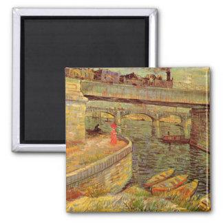 Puentes de Van Gogh a través del Sena en Asnieres Imán Cuadrado