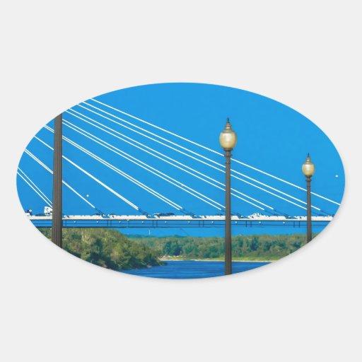 Puentes Pegatina Ovalada
