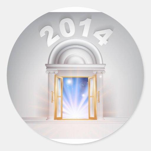 Puerta 2014 del Año Nuevo Etiquetas Redondas