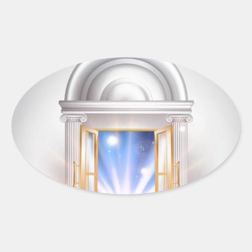 Puerta 2014 del Año Nuevo Pegatinas De Óval