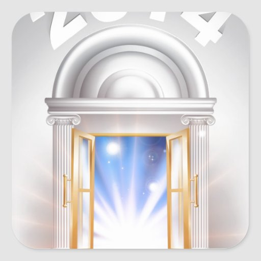 Puerta 2014 del Año Nuevo Calcomanía Cuadradas Personalizadas