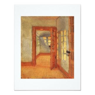 """Puerta abierta Ana interior impresionista soleado Invitación 4.25"""" X 5.5"""""""
