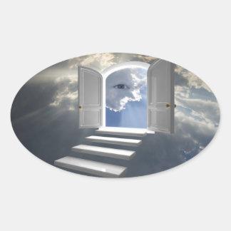 Puerta abierta en un ojo místico calcomanía de óval
