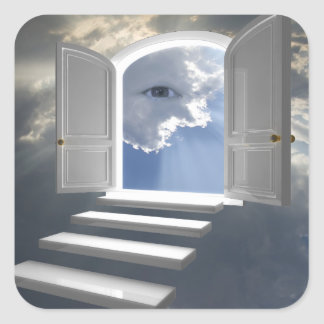 Puerta abierta en un ojo místico calcomanías cuadradass personalizadas