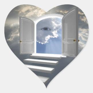 Puerta abierta en un ojo místico calcomanías corazones