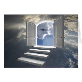 Puerta abierta en un ojo místico tarjeta de felicitación