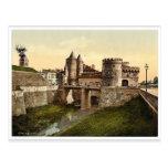 Puerta alemana, vintag de Metz, la Alsacia-Lorena, Postal