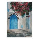 Puerta azul Boganvila de Sidi Bou Felicitación