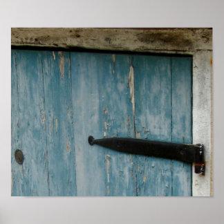 Puerta azul en Charleston Póster
