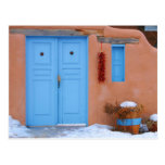Puerta azul en New México Tarjetas Postales