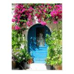 Puerta azul enmarcada con el bougainvillea hermoso tarjetas postales