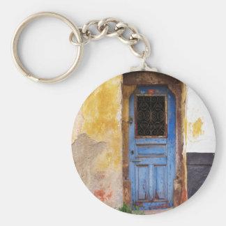 Puerta azul griega - Creta Llavero Redondo Tipo Pin