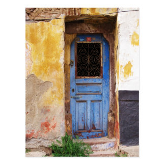 Puerta azul griega - Creta Tarjeta Postal