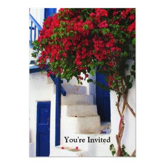 Puerta azul griega - Mykonos, Grecia invita Invitación 12,7 X 17,8 Cm