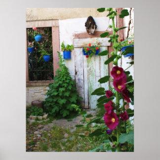 Puerta azul griega vieja en Grecia Póster