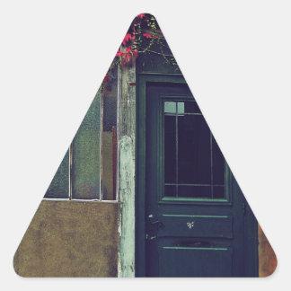 Puerta azul pegatina triangular