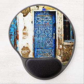 Puerta azul pintada a mano vieja en Grecia Alfombrillas De Raton Con Gel