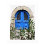 Puerta azul postal