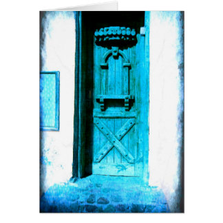 Puerta azul rústica tradicional Santorini GRECIA Tarjeta