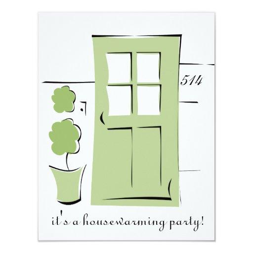 Puerta bonita del verde del apio invitaciones personalizada