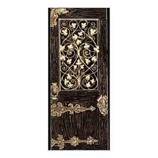 """Puerta caprichosa de oro adornada antigua ligera invitación 4"""" x 9.25"""""""